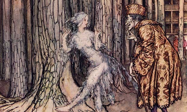 """""""Once upon a time there was a sorcerer who disguised himself as a poor man, went begging from house to house, and captured beautiful girls. No one knew where he took them, for none of them ever returned."""" - """"Fletcher's Bird,"""" a story from the Grimm Brothers"""